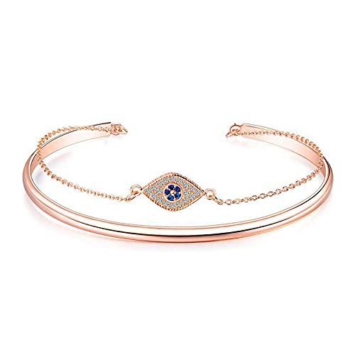 UUIC Pulsera de señora chapada en oro rosa con ojos de diamante y accesorios para relojes