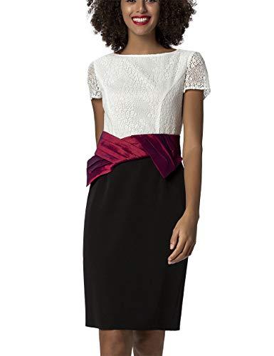APART Elegantes Damen Kleid, Cocktailkleid, crème-farbene Blütenspitze, breites bordeauxfarbenes Taillenband, Schleife, schwarzer Rockpart, Gehschlitz, Figurbetonter Eye-Catcher