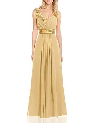 H.S.D Women's Simple Floral One Shoulder Long Bridesmaid Dresses Prom Gowns Gold