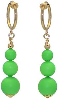 NEON GREEN CERCEAU Gold Plated Clip On Earrings