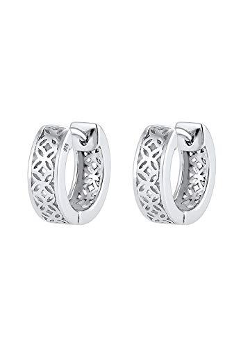 Elli PREMIUM Ohrringe Creole Ornament Floral 925 Sterling Silber