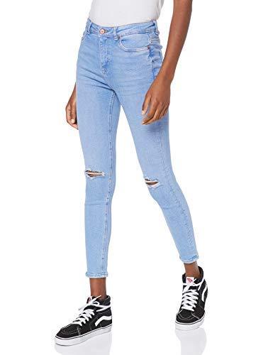 New Look Rip Fray Hem Disco Jaffa Jeans Skinny, Blu (Blue (Denim Only) 46), 40 (Taglia Produttore: 12L32) Donna