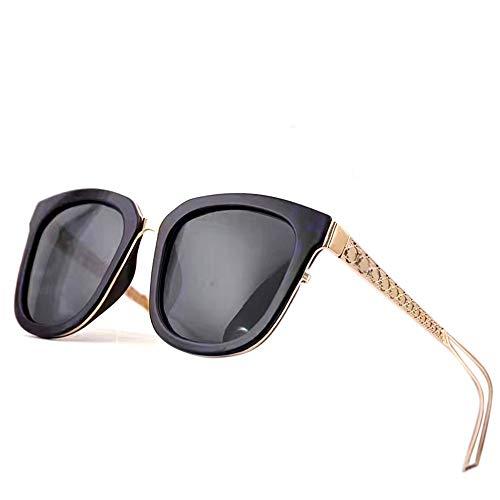 WOYBAOF Las Gafas de Sol polarizadas cuadradas clásicas de Las Mujeres, Lente de Las Gafas de Sol de la Moda de la protección UV400 para la conducción del Viaje al Aire Libre (Color : Black/Gr