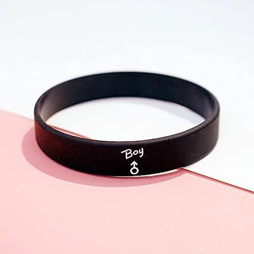 Xlin Pulsera deportiva de silicona de estilo minimalista, pequeña personalidad, simple para hombres y mujeres, modelo de pareja, pulsera de goma (color: negro, tamaño: 200 mm)