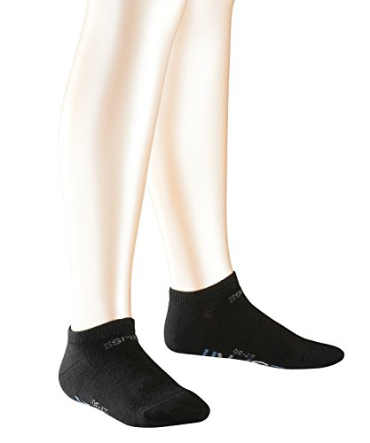 Esprit Unisex Kinder Foot Logo Sneakersocke, 2er Pack, Schwarz (Black 3000)13-16 Jahre)39-42