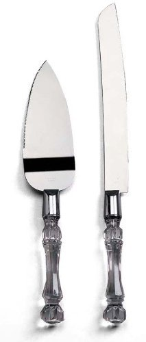 Darice 35745, Knife and Server Set, Faux Crystal