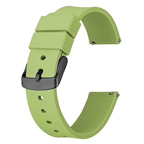 DALIANMAO Correas De Reloj De Silicona - Cierre Rápido Correas De Reloj De 14 Mm, 18 Mm, 20 Mm, 22 Mm Y 24 Mm Correas De Reloj De Silicona Deportivas (Band Color : Tea Green, Band Width : 14mm)