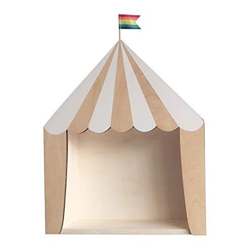 Zirkus-Holzhaus-Aufbewahrungsregale, handgefertigte Kinder-Buchstützen aus Holz, Ornamente, Kinderzimmer, Dekoration, Wandregal