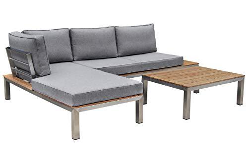 OUTFLEXX - Muebles de salón de Acero Inoxidable Plateado y Gris, Madera de Teca FSC, Textil para 4 Personas, Incluye Mesa de café, Juego Completo