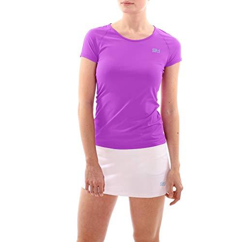 Sportkind Mädchen & Damen Tennis, Fitness, Sport T-Shirt atmungsaktiv, UV-Schutz UPF 50+, Kurzarm, lila, Gr. 158