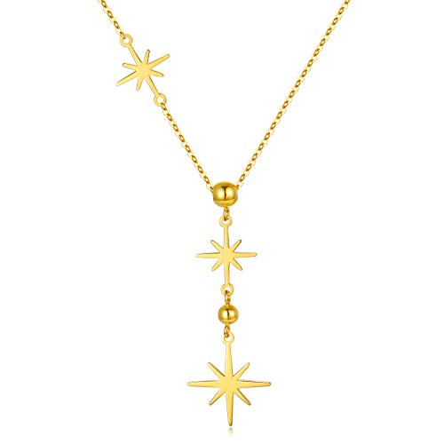 18k Yellow Gold North Star Pendant Necklace for Women, Fine Gold Y...