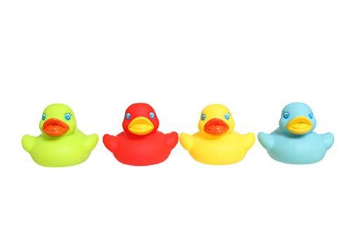 Playgro Patitos de Baño, 4 Piezas, Sin BPA, Desde los 6 Meses, Bright Baby Duckies, Multicolor, 40149