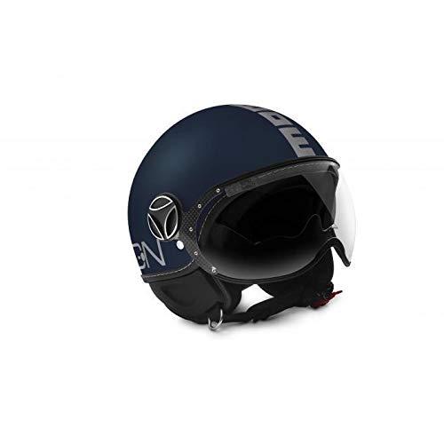 MOMO Design Evo, Casco da Moto Uomo, Blu Opaco Logo Grigio, XL