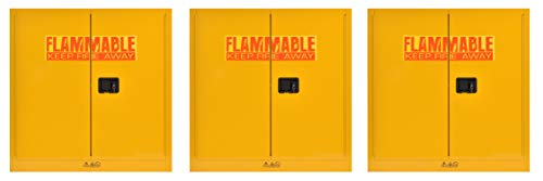 Sandusky Lee SC300F Yellow Steel Safety Cabinet for Flammable Liquids, 1 Shelf, 2 Door Manual Close, 30 Gallon Capacity, 44Height, 43Width, 18Depth (Pack of 3)