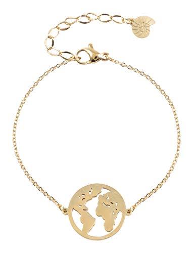 Happiness Boutique Damen Weltkarte Armband in Goldfarbe | Filigrane Armkette mit Globus Anhänger Edelstahlschmuck
