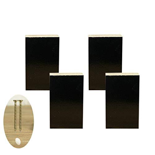 4 x houten meubelpoten geschikt voor kasten, slaapbank, zwart, incl. schroeven (8 cm)