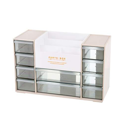 Makeup Organizer Neue Kosmetische Plastikaufbewahrungsbehälter Büro Oberflächen Debris Aufbewahrungsbox zur Organisation (Color : Beige)