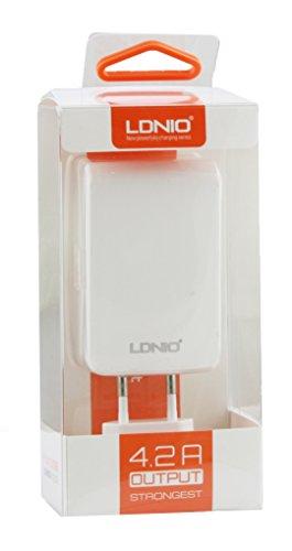 LDNIO® Archos 70 Neon Plus Tablet/Archos 121 Neon Tablet Weiß 4.2 Amp 4 USB Quad Port 2 Pin EU-Schnell Wall Ladekabel Zwischenstecker