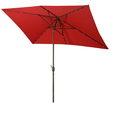 Aok Garden Solar LED Outdoor Umbrella,10x6.5 Feet Rectangular Patio Umbrella with Push Button Tilt and Crank Lift Ventilation,6 Sturdy Ribs Non-Fading Sunshade, Red