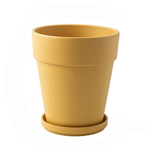 Planta Maceta cerámica plantadoras de Flores de Interior Succulents Modernos contenedores con escurridor de Agujeros de Drenaje Decorar la Oficina en casa al Aire Libre (Color : Yellow, Size : A)