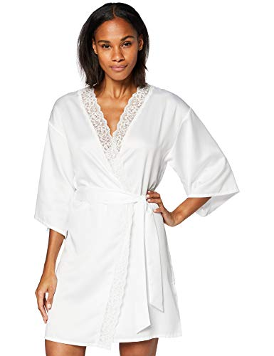 Amazon-Marke: Iris & Lilly Damen Morgenmantel, Weiß (Bright White), S, Label: S