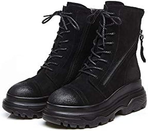 Shukun bottes PU Martin Bottes Courtes Coton Noir Chaud Bottes Femmes Chaussures à Semelles épaisses PU Martin Bottes Femme Tube Court Femelle