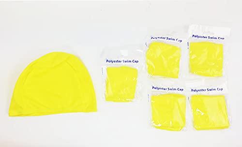 SWIMXWIN Confezione 5 Pezzi Cuffia in Poliestere No Brand e Low Cost OBBLIGATORIE da Piscina Nuoto Estate Balneazione Estiva (5 PZ Giallo)
