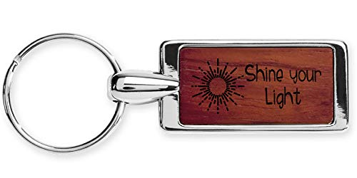 Rosewood Key Ring Keychain Laser Engraved Various Names & Saying Choices-Shine Your Light