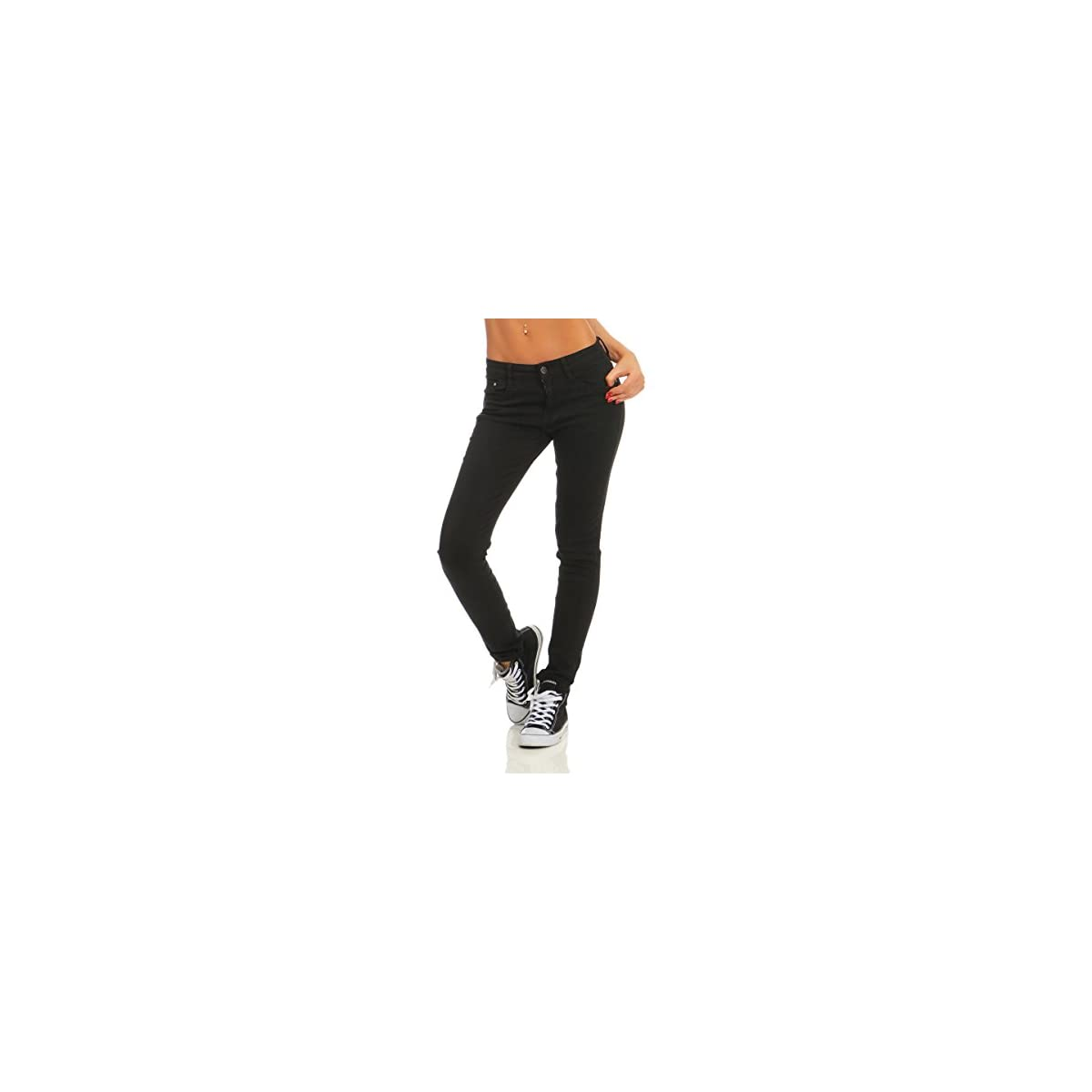 Fashion4Young 4345 Damen Hose Röhre Skinny schwarz