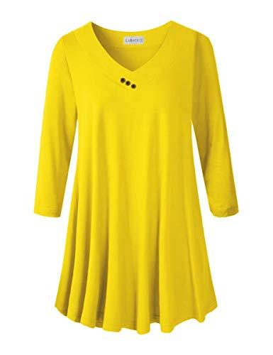 LARACE Plus Size Tunic Women's 3/4 Sleeve Tops and Blouses V Neck Shirts Loose Basic Tee(Yellow 1X)