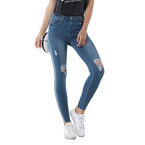 DovSnnx Regular Slim Fit Vaqueros para Mujers Straight Shaping Skinny Taper Jeans Ceñido Estirarse Pants Moderno Pantalones Denim para Las Niñas Rayas Laterales Azules con Agujero En La Cintura Media