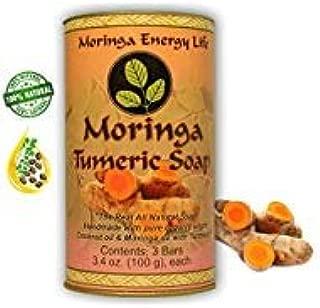 MORINGA TURMERIC SOAP 3-PACK: Rejuvenate Your Skin with All Natural Moringa Soap. Made with Pure Moringa seed Oil, Organic Virgin Coconut Oil & Turmeric Root