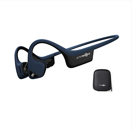 AfterShokz Trekz Air - Auricolari wireless open-ear (orecchie libere) a conduzione ossea con custodia portatile, Blu