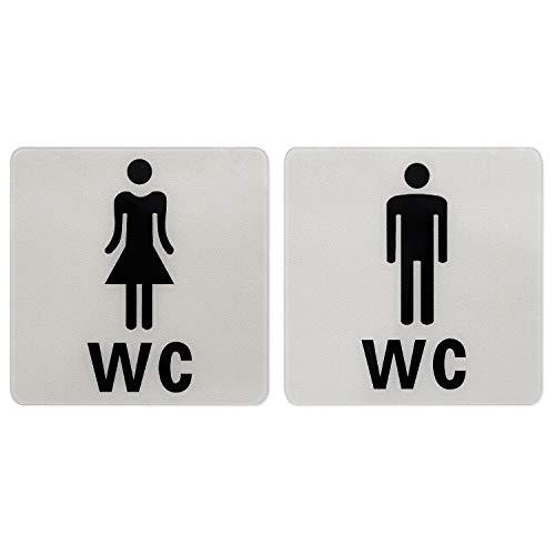 NATEE 2pcs Señal de Aseos Hombre Mujer, Cartel de Aseos Acrílico,Cartel de WC Mujer Hombre Adhesivo para Restaurante Baño Cafetería Bar Tienda 12.5 * 12.5cm Anti-resbalón Sin Perforación