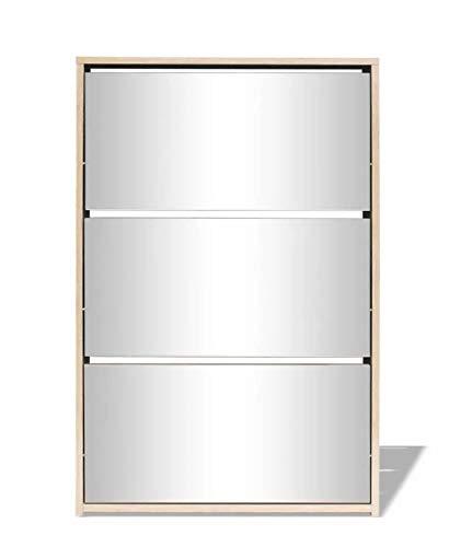 Hanper Zapatero con 3 Puertas, Armario para Zapatos Roble con Espejo, 63 x 17 x 102,5 cm