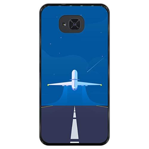 Telefoonhoesje voor [ Bq Aquaris U2 - U2 Lite ] tekening [ Klaar voor een nieuw avontuur, vliegtuig stijgt op ] Zwart TPU flexibele siliconen schaal
