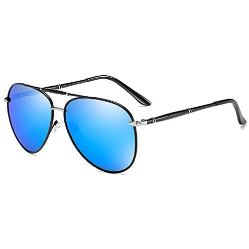 NJJX Gafas De Sol Polarizadas Clásicas Para Hombre, Gafas De Sol De Conducción De Metal Con Revestimiento, Gafas De Sol Azules, Gafas Para Hombre05