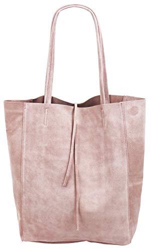 SH Leder ® Damen Echt Wildleder Shopper mit Innentasche in vielen Farben Schultertasche Henkeltasche 37x29cm Katrin G261 (Rosa)
