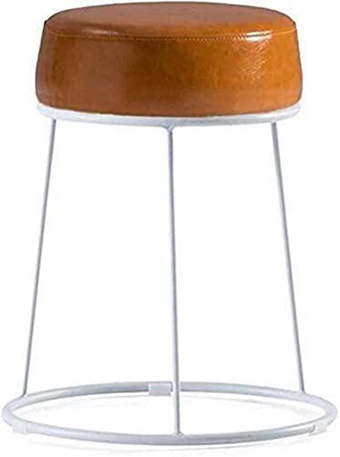 Sillas De Barra De Mostrador De Taburetes De Bar A Redondo de hierro escalofriante taburete Cambio de taburete Taburete tapizado de pie de mano Asiento de asiento de cuero Blanco Corredor Marco  Sala