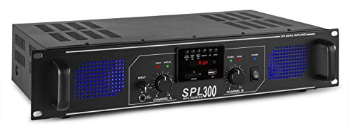 Skytec SPL 300MP3 Amplificador 2 x 150W con LEDs azules EQ U