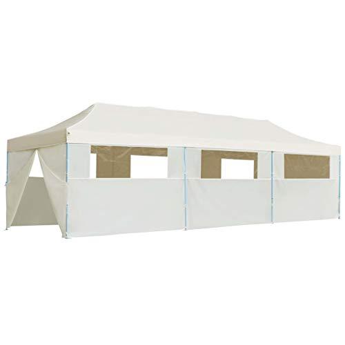 Festnight- Faltzelt 3 x 9 m Creme mit 8 Seitenw?nden, Faltpavillon Pavillon faltbar Pop-Up, UV- und Wasserbest?ndig, Stoff + Stahl