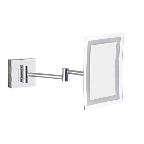 JKCKHA Montado en la pared de espejo de maquillaje maquillaje 8,5 pulgadas LED Espejo cuadrado del metal de un lado Espejo de baño Espejo de baño (Color: Plata, tamaño: 8,5 pulgadas) Decoración hogare