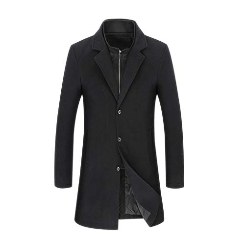 YMXYMM Men Trench Coat Slim Fit Cashmere Thick Single Breasted Long Winter Business Mens Long Jacket,Black-6XL