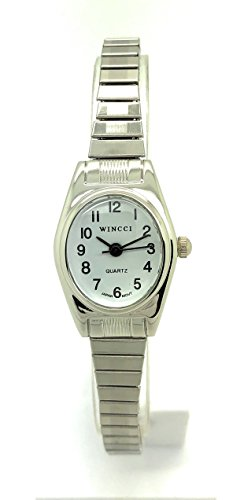 Ladies Classic Small Oval Stretch Elastic Band Fashion Watch Wincci (Silver)