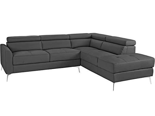 Loft24 A/S 5-Sitzer Sofa L-Form Couch Ecksofa Polsterecke mit Recamiere Leder Metallbeine (grau Recamiere rechts, Lederimitat)
