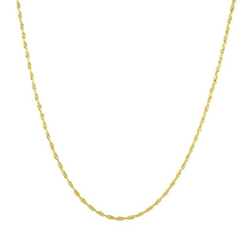 Sterling Silver 1.4MM Adjustable Braided Twist Rope Chain for Women- Adjustable Necklace in 3 Colors (Gold Plated)