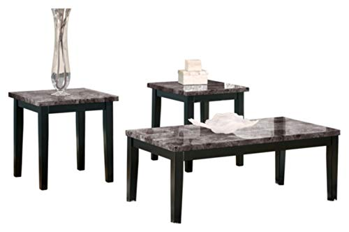 Signature Design by Ashley - Maysville Faux Marble Coffee Table Set - Includes Table & 2 End Tables, Black