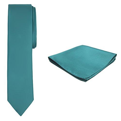 Jacob Alexander Solid Color Men's Skinny Tie and Hanky Set - Teal Green