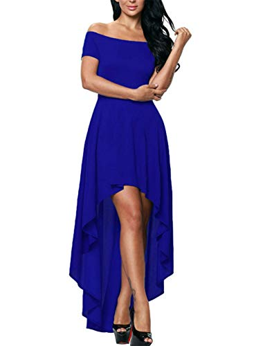 ZANZEA Women Off The Shoulder Short Sleeve High Low Wedding Guest Party Cocktail Dress C-Blue Large