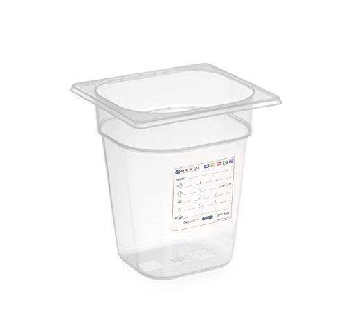 HENDI Gastronormbehälter, Temperaturbeständig von -40° bis 80°C, Geruchs- und geschmackneutral, ohne Deckel, 3,4L, Polypropylen, GN 1/6, 176x162x(H)200mm, Transparent